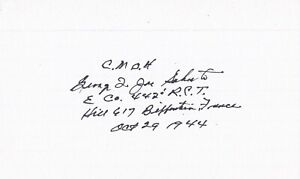 George Sakato Signed Index Card MOH Medal of Honor Nisei 442nd Army DSC WWII 2