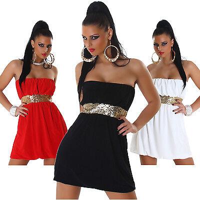 Kleid mini Bandeau Pailletten Einheitsgröße 34 36 38 Party GoGo Tanz Feier neu