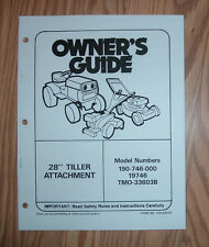 MTD 190-746-000 28IN TILLER ATTACHMENT OWNERS MANUAL WITH ILLUSTRATED PARTS LIST