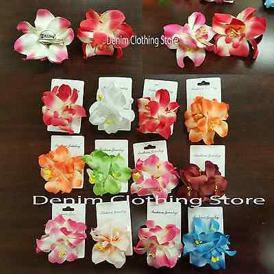 12pcs Orchid Flowers Hair Clips Pin Bridal Wedding Prom Hawaii Accessories 3""