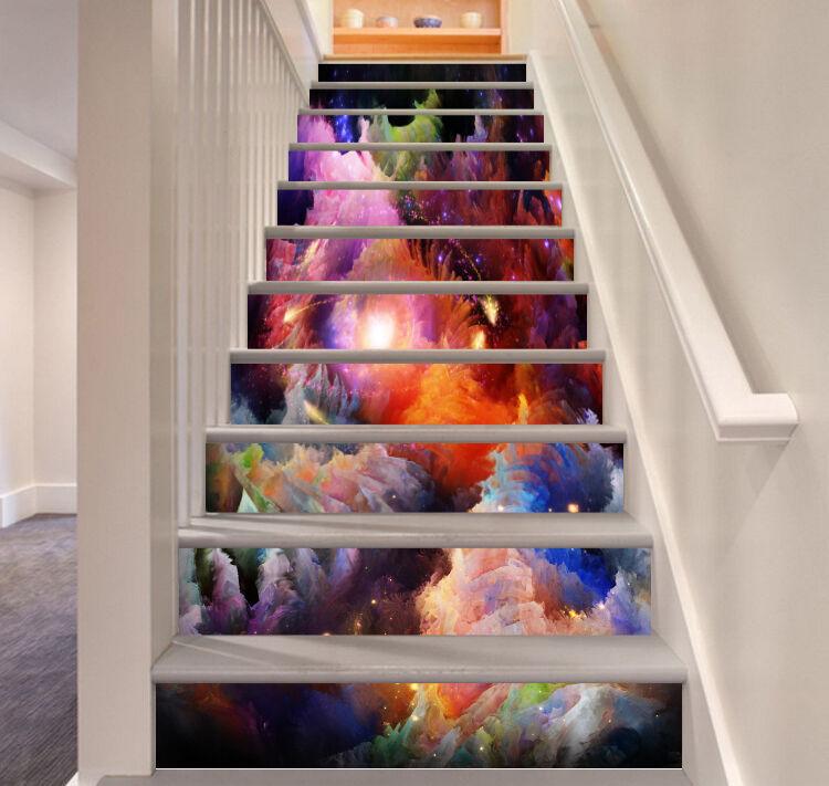 3D color Clouds 199 Stair Risers Decoration Photo Mural Vinyl Decal Wallpaper AU
