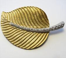 Vintage Kenneth Jay Lane Large Gold Tone Leaf Rhinestone Stem Brooch Pin