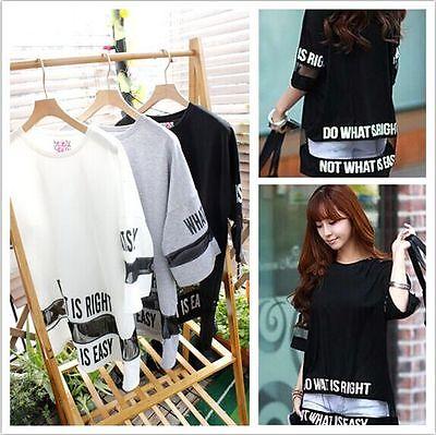 Harajuku Women Oversize Black Mesh Letter Printed Fashion T Shirt Tee Tops