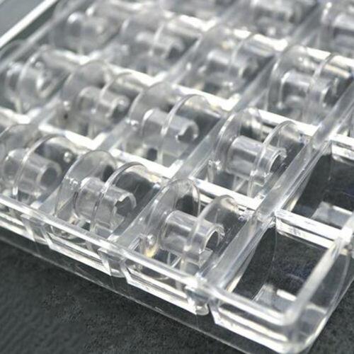 Transparent Storage Case Box 25Pcs Sewing Machine Spools Thread Empty Bobbins