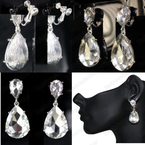 CLIP ON 4cm BIG CRYSTAL DROPS EARRINGS silver fashion AUSTRIAN GLASS RHINESTONE