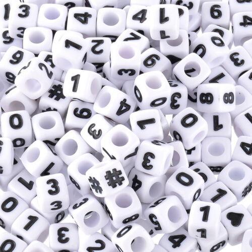 KUS 300 Weiß Acryl Zahlen /& Symbol Würfel Perlen Beads Spacer 7x7mm