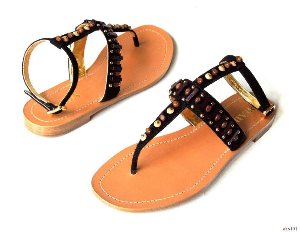 Nuevo  790 Negro Prada Enjoyado Con Cuentas Correa Correa Correa T Tanga Sandalias Zapatos 37 7-El Mejor 8f4aa7