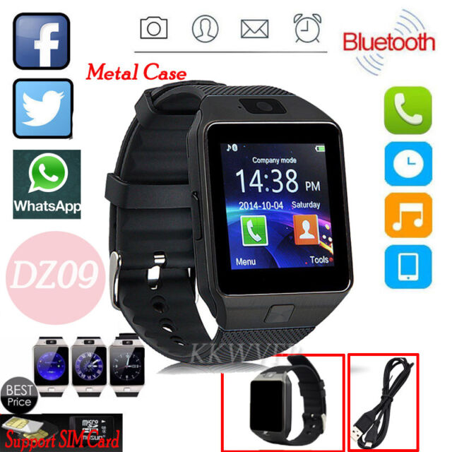 BLACK SIM Card DZ09 Bluetooth Smart Watch Phone + Camera For Android IOS iPhone