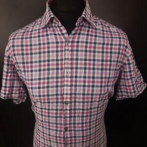 HUGO-BOSS-Mens-Casual-Shirt-LARGE-Short-Sleeve-Pink-Regular-Fit-Check-Cotton