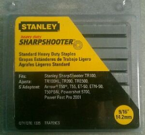 "Stanley 9/16"" Heavy Duty Sharpshooter Staples TRA709CS - 1325 Count Pack"