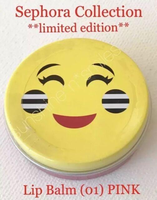 SEPHORA Smiling Emoji TINTED LIP BALM 01 PINK Full-Size 3 5g Travel Tin  *SEALED*