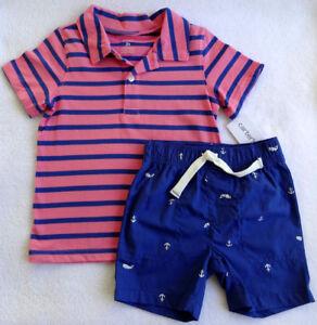 79442031 NWT Carter's Toddler Boys Pink & Blue Striped Nautical Shorts Set ...