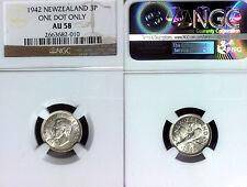 New Zealand 1942 3 Pence, One Dot Variety, Rare High Grade, NGC 58