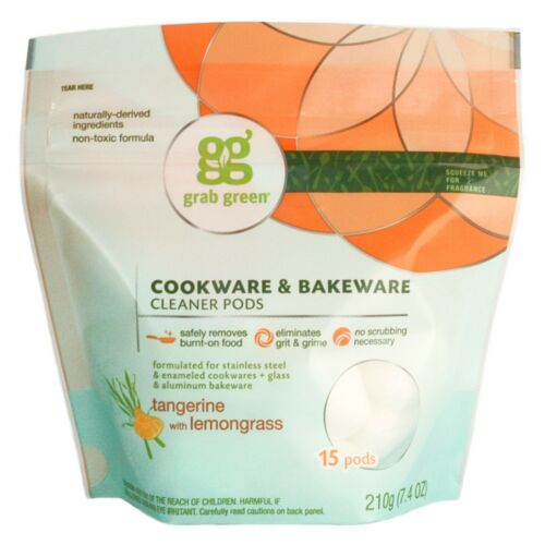 15 pods Tangerine with Lemongrass Cookware Cleaner or Garbage Dis..GRAB GREEN