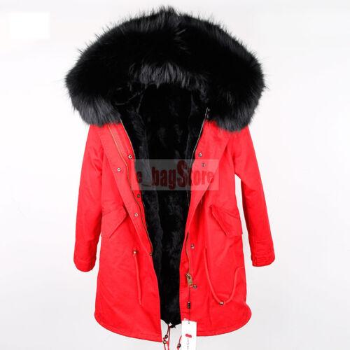 Women Real Big Raccoon//Fox Fur Collar Hooded Coat Warm Parka Rabbit Fur Jacket