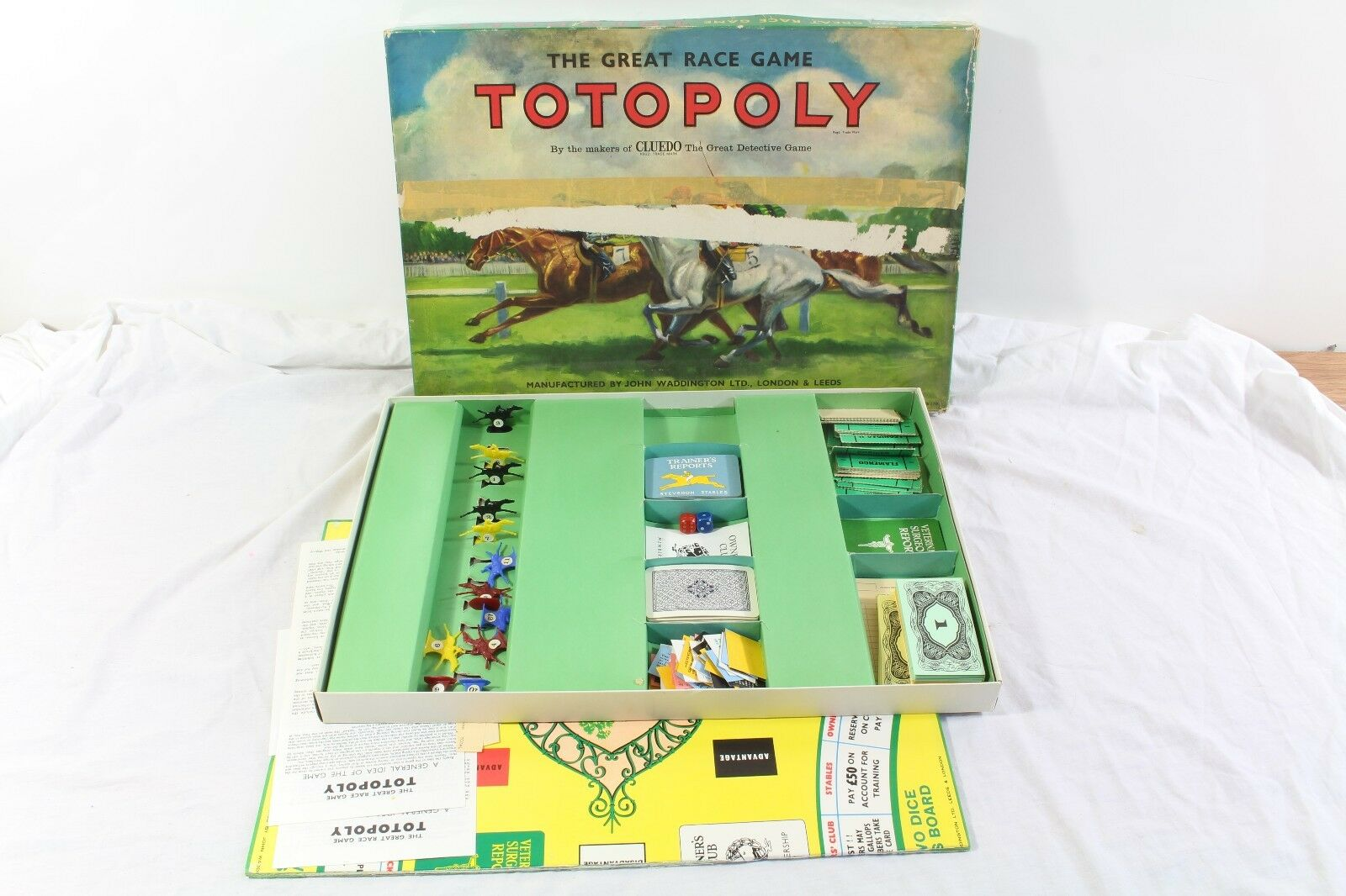 Totopoly Vintage Board Game The Great Race John Waddington Plastic Horses V2