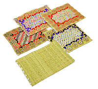 Moroccan Handmade Decorated & Plain Straw Table Place Mat Set 4 Pieces Placemats