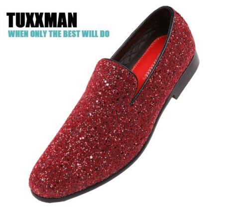 New Men/'s Glitter Burgundy Red Slip On Dress Shoes TUXXMAN Loafers Prom Tuxedo
