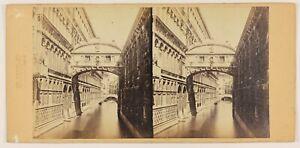 Foto-A-Perini-Pont-Dei-Sospiri-Venezia-Italia-Stereo-Vintage-Albumina-c1860