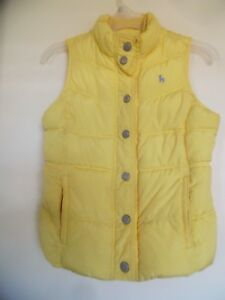 GIRLS OLD NAVY PUFFER VEST SIZE L PALE YELLOW FLEECE LINED