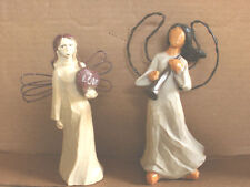 """Lot of 2~ANGEL FIGURINES~Willow Tree Type~6-7"""" Tall"""