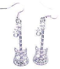 Argento e Cristallo Trasparente Chitarra Dangle Earrings