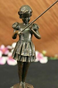 Figurine-of-Young-Girl-Fishing-Hot-Cast-Bronze-Art-Sculpture-Green-Marble-Base