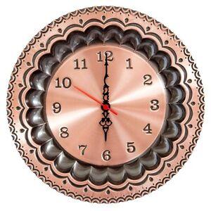 Orologio da parete in rame lucido al quarzo tradizionale piatto 30 cm.