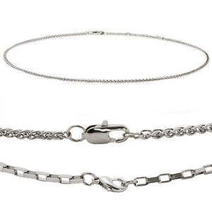 Mens-Stainless-Steel-Necklace-20-034-Box-or-Spiga-Chain