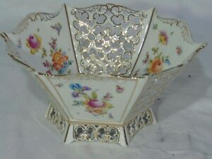 German-Dresden-Saxonia-Hexagon-Footed-Bowl-Reticulated-Flowers