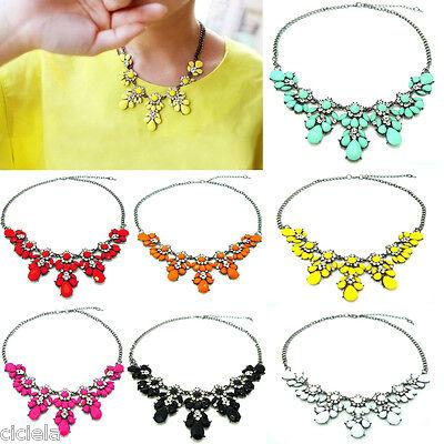 Womens Charm Crystal Choker Chunky Statement Bib Necklace Jewelry Chain Pendant
