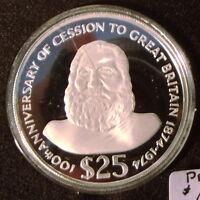 1974 Fiji Island $25 Proof Commemorative Silver Coin original box with COA.