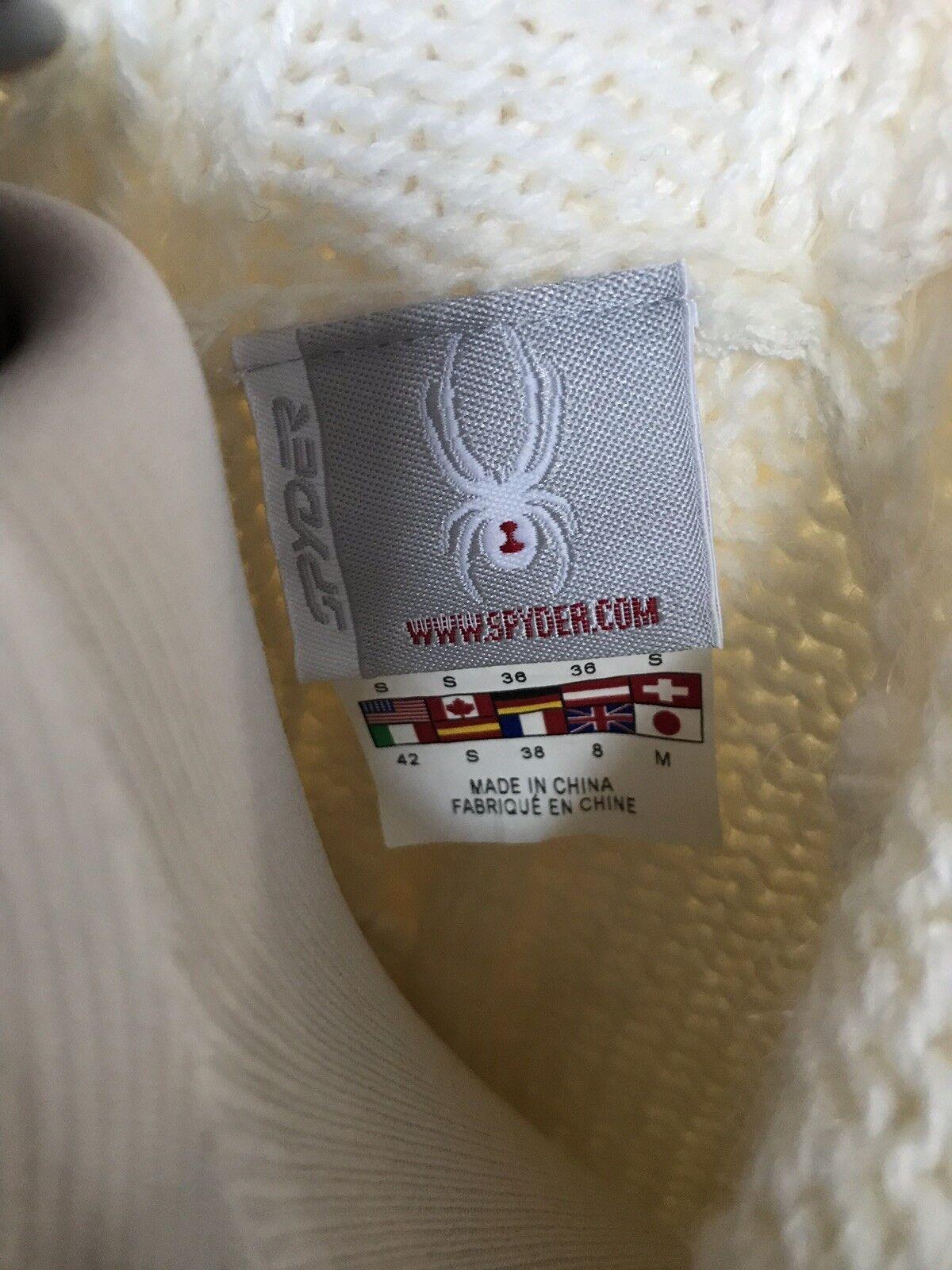 Women's SPYDER Cream Wool Blend Faux Fur Hoodie Ski Ski Ski Sweater Cardigan SMALL 133914