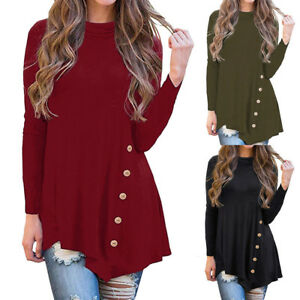 Women-039-s-Irregular-Long-Sleeve-Button-Turtleneck-Asymmetrical-Blouse-Tunic-Tops