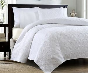 Image Is Loading WHITE MATELASSE 3p King QUILT SET COTTON FILL