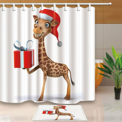 "Funny Deer With Christmas Gift Box 71/"" Bathroom Fabric Shower Curtain /& 12 Hooks"