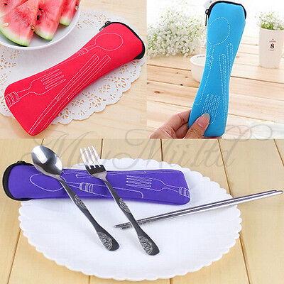 Cutlery Set 3 PCS Zipped Holder Bag Travel Picnic Chopstick Spoon Fork