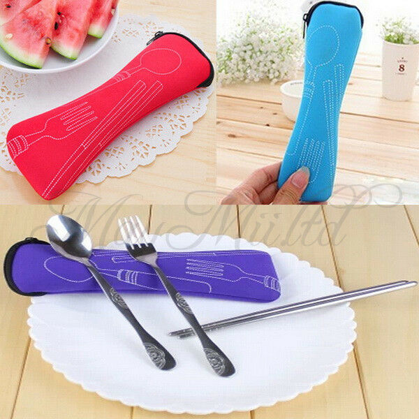 Cutlery Set 3 PCS Zipped Holder Bag Travel Picnic Chopstick Spoon Fork Hot SaleH