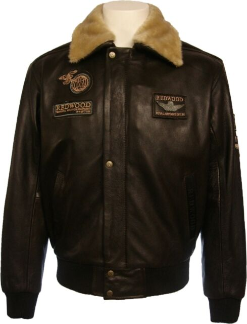 Mens Brown 100% Real Leather Pilot Aviator Jacket  'All sizes' :#N4