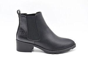 professionnel la qualité d'abord meilleur pas cher Détails sur SHF20 1548 * Bottines Low Boots Chelsea Petit Talon Motif Croco  Noir Mode Femme