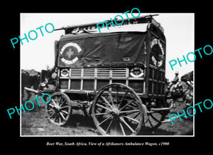 OLD-POSTCARD-SIZE-PHOTO-BOER-WAR-MILITARY-AFRIKANERS-AMBULANCE-WAGON-c1900