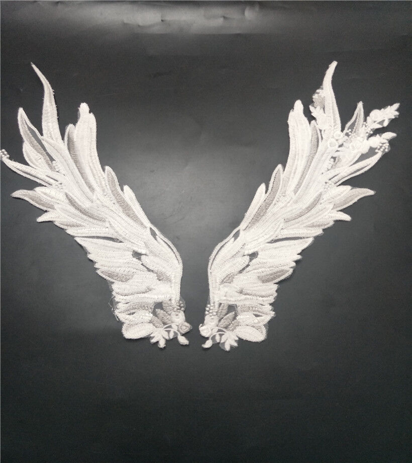 Angel Wings Embroidery Lace DIY Patch Sew Applique Accessories 1 Pair White Be