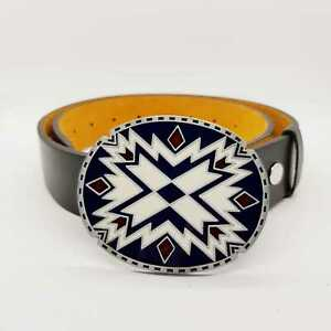 1 1//2 Womens Fashion Triangle Aztec Pattern Buckle on Quality Leather Strap