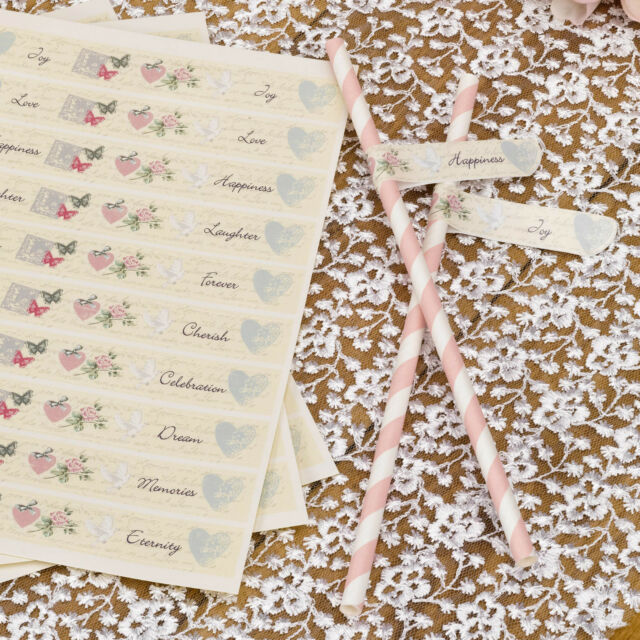 Pk 30 MESSAGE FLAGS for DRINKING STRAWS With Love Wedding Vintage Self Adhesive