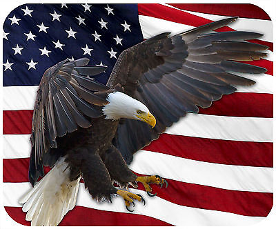 MOUSE PAD THICK MOUSEPAD - AMERICAN FLAG WITH BALD EAGLE-ANY TEXT