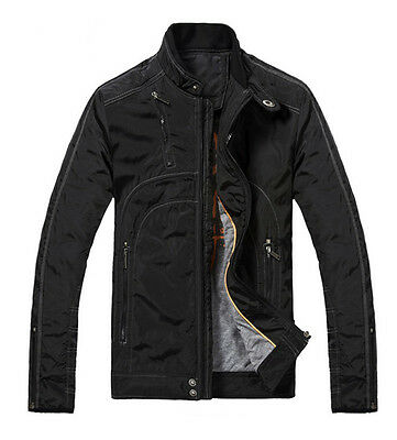 New Men's Quilted Jacket Slim Classic Business Coat Officer's Outerwear Black