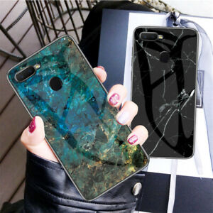 best sneakers fbb81 ee5c0 Details about Luxury Marble Glass Case For OPPO F9 F9 Pro Shockproof Hybrid  Hard Slim Cover
