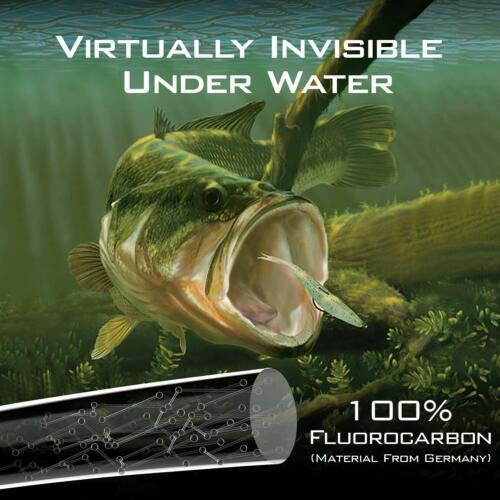 KastKing Kovert 100/% Fluorocarbon Fishing Line 200 Yards Clear Leader Line