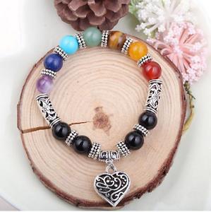 8MM-Natural-7-charka-gemstone-stones-round-beads-Tibet-silver-bracelet-bangle