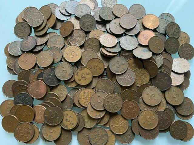 Finland 5 pennia 1918-1940 18mm bronze coin 1pcs